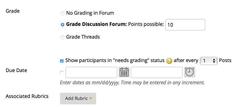 select grade discussion in forum settings to turn on grading